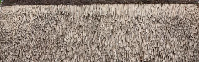 Dach z trzciny z wykończeniem w domu z bala lub karczmie z bali